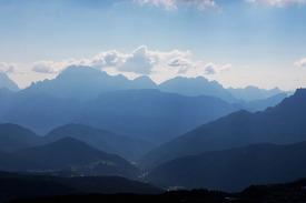 Dolomiten-Panorama, gesehen vom Col Margherita.